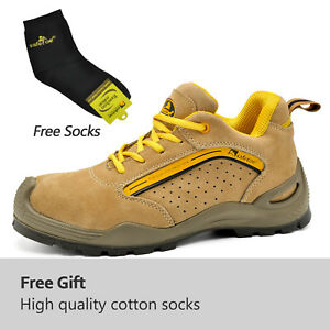 UK Mens Safetoe Safety Shoes Mens Work Boots Leather Steel Toe Breathable Sports