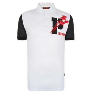 Mens Philipp Plein Sport White Tiger Logo Polo T Shirt Top Size - RRP £245