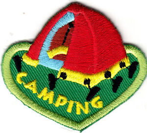 CAMPING Iron On Patch Scouts Cub Girl Boy Camper Tent Outdoors Trip