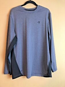 Men's CHAMPION Double Dry Fit Long Sleeve Gray Performance Shirt Size Large