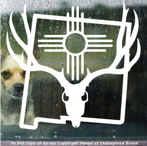 ZIA Deer Antlers Map Outline NM state flag New Mexico sticker