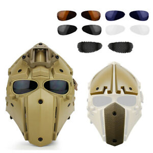 Cosplay Airsoft Tactical Skull With Fan Helmet NVG Rail Mount Full Mask Tan