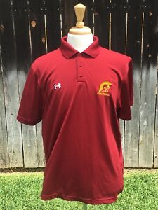 Under Armour Men's USC Trojans Red Loose Fit Quick Dry Golf Polo Shirt