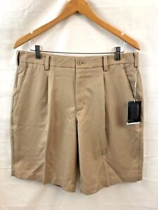 NEW NIKE GOLF Pleated Shorts MENS SIZE 34 Beige Brown 100% Polyester FIT-DRY B5