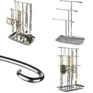 Jewelry Organizer Necklace Holder Tree Tower 3 Tier Display Stand Tabletop Brace
