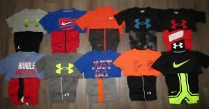 Lot 20 Boy's UNDER ARMOUR NIKE Dri-Fit Loose Shirts Athletic Shorts YSM Small 8