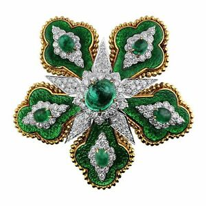 David Webb Emerald Floral Brooch
