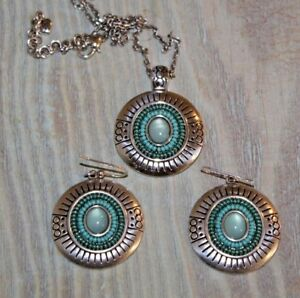 BRIGHTON Necklace Earrings SET Vista Turquoise Seed Silver Adjustable Chain