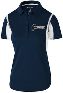 Hammer Women's Taboo Performance Polo Bowling Shirt Dri-Fit Navy White