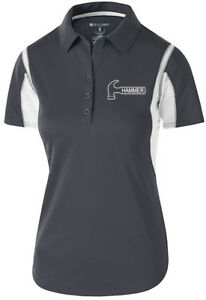 Hammer Women's Taboo Performance Polo Bowling Shirt Dri-Fit Graphite White