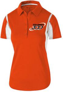 Columbia 300 Women's Nitrous Performance Polo Bowling Shirt Dri-Fit Orange White