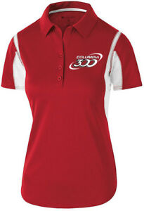 Columbia 300 Women's Nitrous Performance Polo Bowling Shirt Dri-Fit Red White