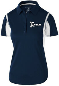 Track Women's Synergy Performance Polo Bowling Shirt Dri-Fit Navy White