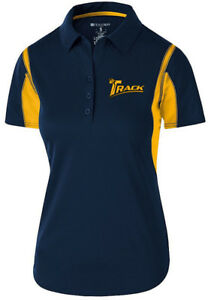Track Women's Synergy Performance Polo Bowling Shirt Dri-Fit Navy Yellow