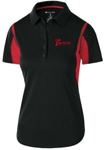 Track Women's Synergy Performance Polo Bowling Shirt Dri-Fit Black Red
