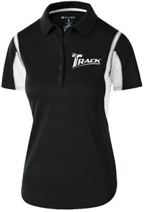 Track Women's Synergy Performance Polo Bowling Shirt Dri-Fit Black White