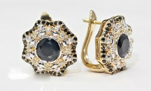 2.30 Ct Round Brilliant Black Diamond Halo Stud Earrings 14K Yellow Gold Finish