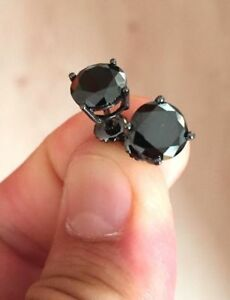 2 Ct Round Cut Black Diamond Solitaire Stud Earrings Solid 14K Black Gold Finish