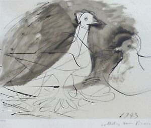 PABLO PICASSO Pigeons Doves LITHOGRAPH Hand signed by Marina Picasso Estate Coll