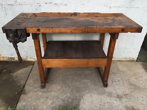Antique Work Bench Table with Vise -Richards Wilcox - Vintage Woodworking