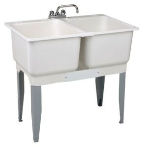 Laundry Tub Double Sink Basin Utility Wash 36 x 34 In. Durable White Plastic New
