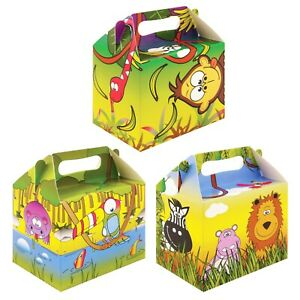 6 Kids Card Party Filler Box Favour Treat Boxes Birthday Parties Jungle Animals GBP 2.99
