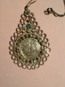 Rare Old Turkish Greek Pendant Witha Silver Turkish Coin