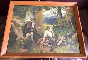 OLD BLACK FOREST HUNTING POACHER PICTURE DEER LITHOGRAPH GERMANY c1890
