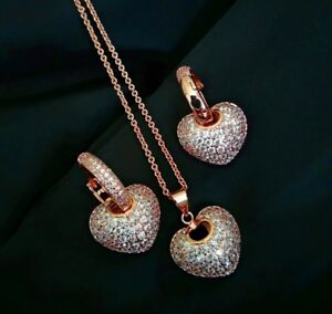 14k Rose Gold 3D Heart Pendant Necklace Earrings Set made w Swarovski Crystal