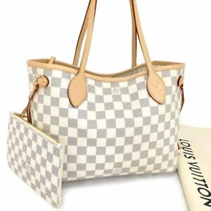 New 2017 Louis Vuitton Damier Azur Neverfull PM Tote Hand Bag wPouch e-784