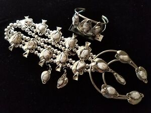 HUGE! Silver WHITE TURQUOISE Squash Blossom Necklace Bracelet & Earrings SET!