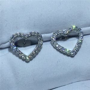 0.40Ct Round VVS1D Diamond Heart Stud Earrings Solid 14K Real White Gold Finish