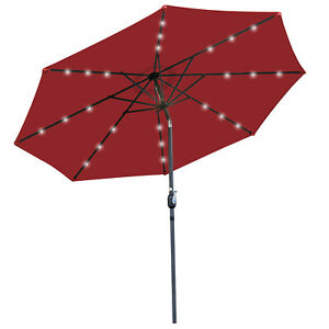 10ft Solar Umbrella 24 LED Lighted  Powered  Patio with Push Button Tilt Crank