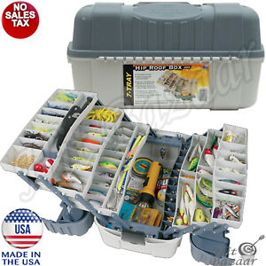 TACKLE BOX FISHING Storage Organizer Lures Container Large 7 Tray Holder Handle
