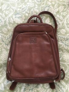 OSGOODE MARLEY Brown Brandy Leather Large Organizer Backpack Purse-NEW