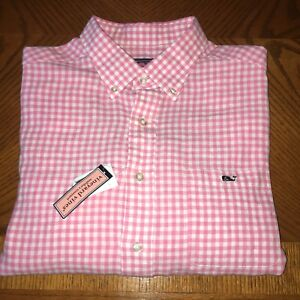 VINEYARD VINES NWT Mens Large WHALE SHIRT PINK PLAID DESIGN GREAT CONDITION RARE