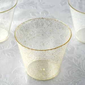 9 oz Disposable Gold Glittered Clear PLASTIC Wine GLASSES Wedding TABLEWARE SALE