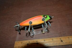 VINTAGE CREEK CHUB INJURED MINNOW IN RAINBOW FIRE COLOR PATTERN #1531 GLASS EYES