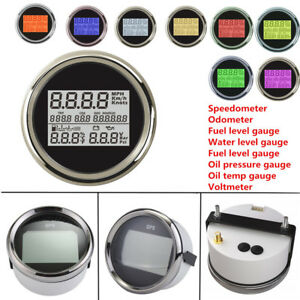 Car 85mm GPS Speedometer Odometer Fuel Level Oil Pressure Gauge Water TEMP Meter