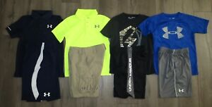 Lot 8 Boy's UNDER ARMOUR Polo T-Shirts Athletic Cargo Golf Shorts YSM Small 8
