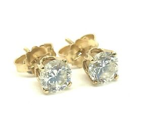 Diamond 1ctw Studs Earrings Round Brilliant 14K Yellow Gold 4 Prongs Setting
