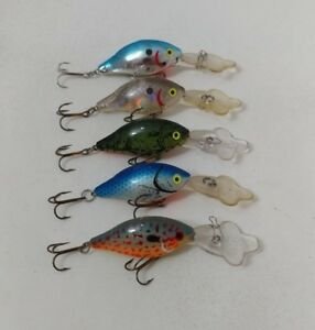(5) Vintage Pre Rapala Luhr Jensen Hot Lips crankbaits Lot of 5 Fishing Lures