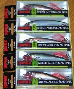 5 RAPALA XR-10 XR10 SILVER S XRAP LONG CASTING SUSPENDING RATTLING LURE