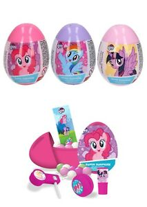 NEW 3 MY LITTLE PONY PLASTIC SURPRISE EGGS WITH TOY, CANDY AND STICKER