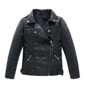 Cool PU Leather Coat Jacket Motorcycle Lapel Collar Casual Boys Girls Overcoat