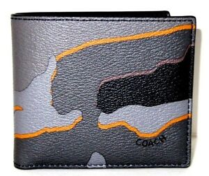 COACH #x27;Camouflage#x27; Men#x27;s Printed Canvas Double Billfold Camo Wallet Grey **NWT**