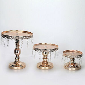 3p. Lot Luxury Gold Metal Wedding Decorations Cake Cup Cake Stand Tray Set