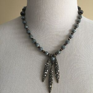 NWOT Anthropologie Blue Metal Drop Necklace Chocker Statement Piece