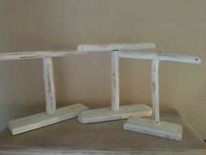 Set of 3 White Jewelry Display Driftwood Stands Bracelets Necklaces Shabby Chic