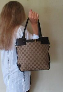 $1280. genuine GUCCI Italy SHOULDER PURSE Brown LEATHER  GG Monogram TOTE